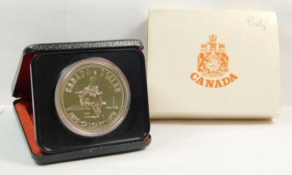 1875/1975 Canada Silver $1 - Calgary - 23.33 g.  0.500 Silver  0.375 oz. ASW - In Original Mint Case