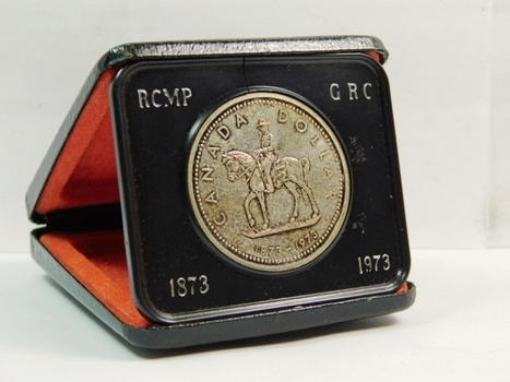 1973 Proof Canada Silver Dollar - Commemorating the Royal Canadian Mounties - 23.33 g  0.500 Silver  0.375 oz. ASW