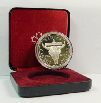 1982 Proof Canada Silver $1 - Skull - 23.33 g.  0.500 Silver  0.375 oz. ASW - In Original Mint Packaging