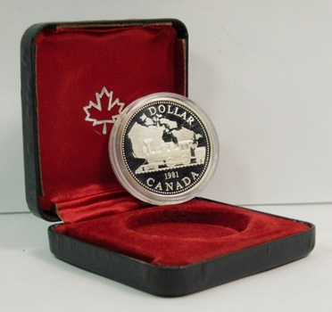 1981 Proof Canada Silver $1 - Commemorating the Transcontinental Railroad - 23.33g.  0.500 Silver  0.375 oz. ASW - In Original Mint Case