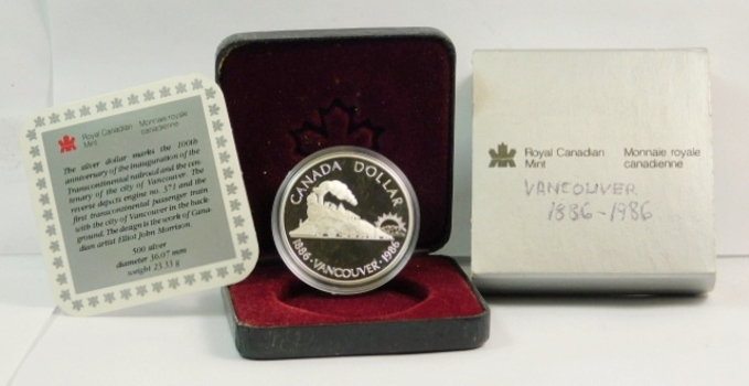 1986 Proof Canada Vancouver Centennial Commemorative Silver Dollar w/Train - 23.33 g.  0.500 Silver - In Original Mint Packaging