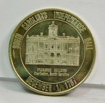 "South Carolina's Independence Hall - Charles Towne Tea Party Commemorative Medal - 1.5"" Diameter Silver Colored Metal"