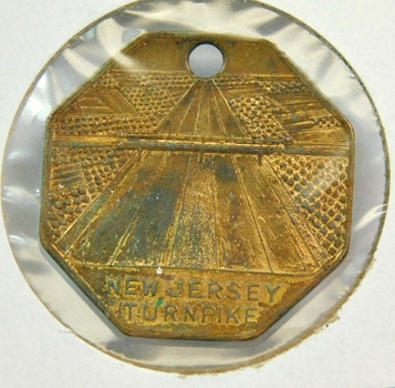 "New Jersey Turnpike Commemorative Medallion - 1.25"" and Holed to Use as Keychain"