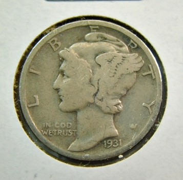 SCARCE DATE - 1931-S Silver Mercury Dime - San Francisco Minted
