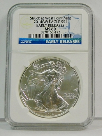 2014-W $1 American BURNISHED Silver Eagle - Early Releases Coin - Graded MS69 by NGC - Struck at the West Point Mint - Nice White Coin