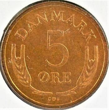 Denmark 1969 5 Ore KM-848.1