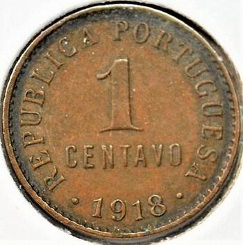 Portugal 1918 1 Centavo KM-565