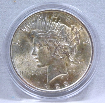 1922 Peace Silver Dollar - Excellent Detail and Luster on a High Grade Coin - Philadelphia Minted