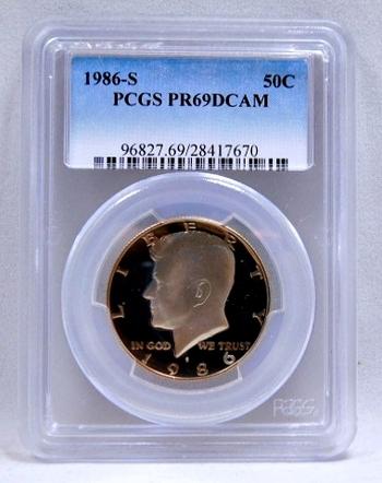 1986-S Proof Kennedy Half Dollar - Graded PR69 DCAM by PCGS