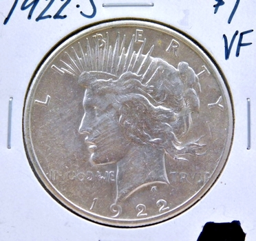 1922-S Peace SILVER Dollar - San Francisco Minted - Nice Detail and Luster on a Higher Grade Coin