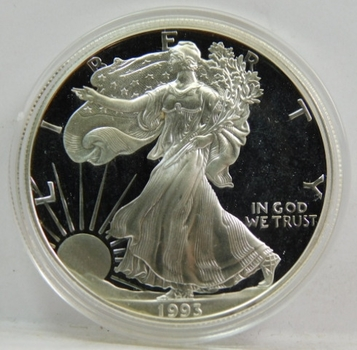 1993 SILVER .999 Gem Proof US American Eagle One Dollar Coin Semi-Key Date!