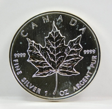 1990 $5 Canada 1 oz .9999 Silver Maple Leaf