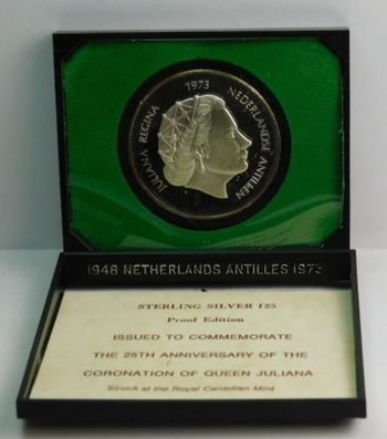 1973 Netherlands Antilles Silver 25 Gulden - 25th Anniversary of the Coronation of Queen Juliana - Proof Condition in Original Royal Canadian Mint Packaging - Low Mintage of Only 20,207!!!