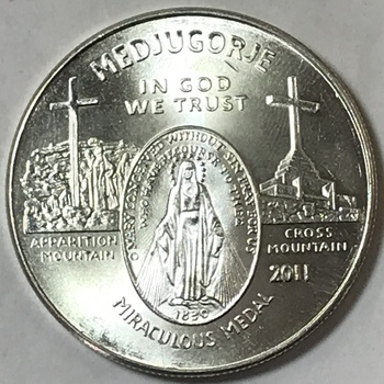2011 Virgin Mary Medjugorje Apparition Mountain Catholic .999 Fine 1 oz Silver Round