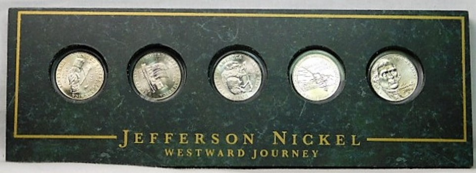 Brilliant Uncirculated Jefferson Nickel Westward Journey Collection - All Five Nickels in Marble Like Frame