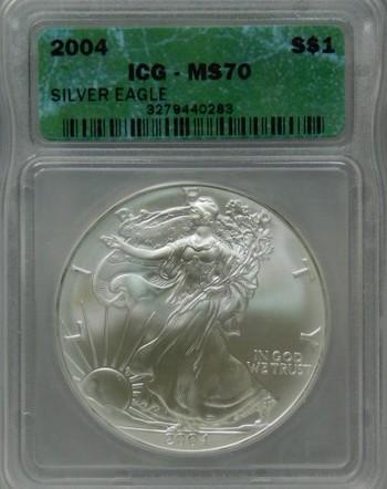 2004 ICG Graded MS 70 SILVER EAGLE