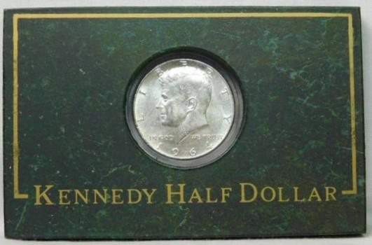 1964 SILVER Kennedy Half Dollar in Marble-Like Frame - High Grade Coin!