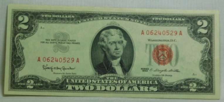 HIGH GRADE! Series 1963 $2 Red Seal United States Note - Crisp Paper