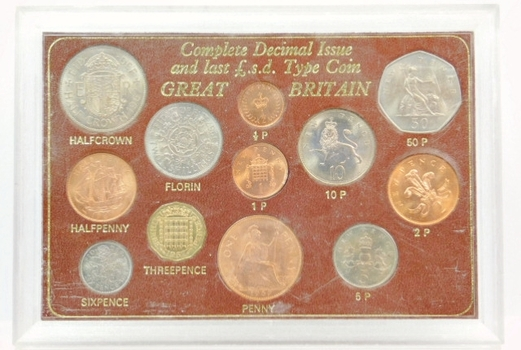 Complete Great Britain Type Set of Pre-Decimal and Decimal Issue in Brilliant Uncirculated Condition