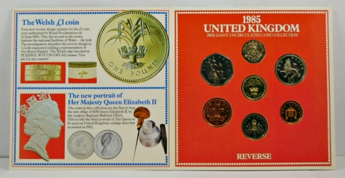 1985 United Kingdom Brilliant Uncirculated Coin Collection - In Historical Story Board Display