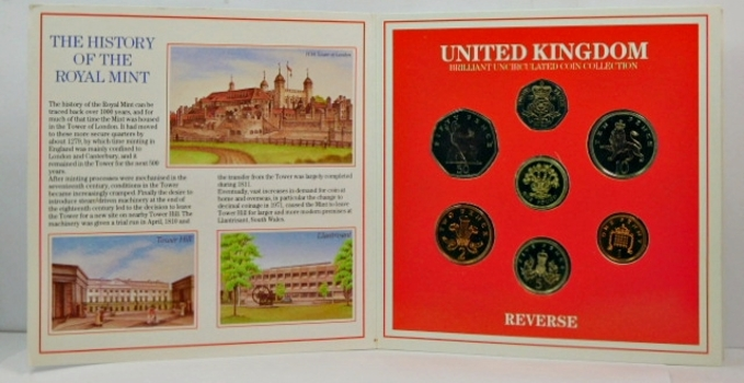 1986 United Kingdom Brilliant Uncirculated Coin Collection - In Historical Story Board Display