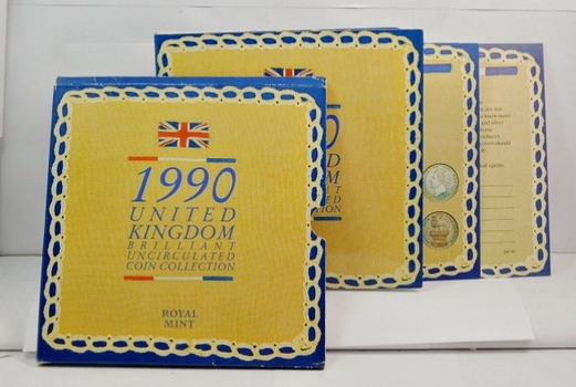 1990 United Kingdom Brilliant Uncirculated Coin Collection in Original Royal Mint Packaging
