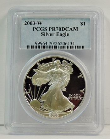 2003-W Proof American Silver Eagle - Graded PR70 DCAM by PCGS - Struck at the West Point Mint