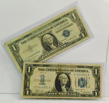 """(1) 1957B US $1 Silver Certificate & (1) 1934 US Silver Certificate """"Funny Back""""- (2) Notes Included-Average Circulated Condition"""