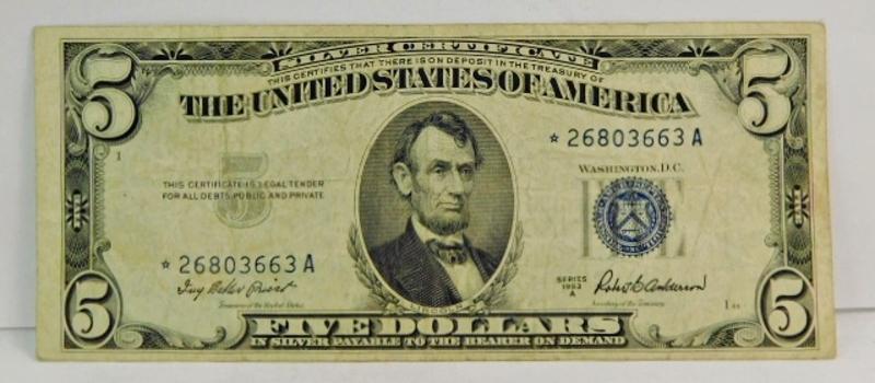 Series 1953A $5 Silver Certificate Star Note - *26803663A