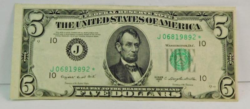 Series 1950-C $5 Federal Reserve Star Note - Crisp Paper