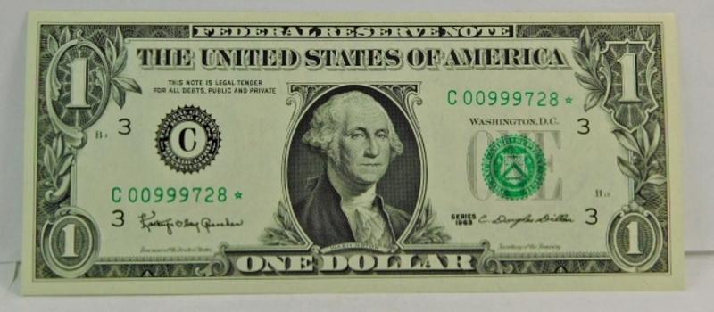 Series 1963 $1 Federal Reserve Star Note - Crisp Uncirculated - C00999728*