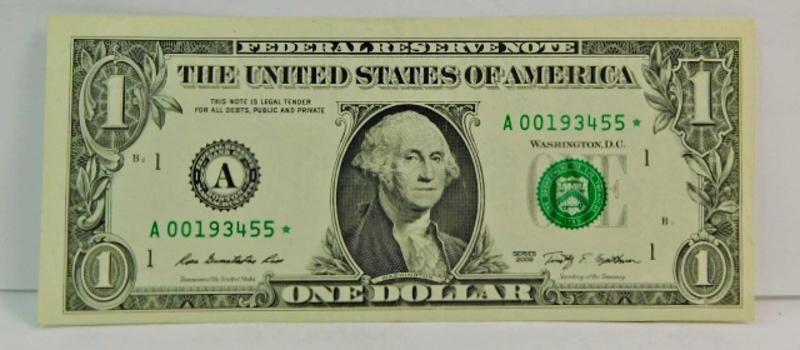 Series 2009 $1 Federal Reserve Star Note - Crisp Paper - A00193455*