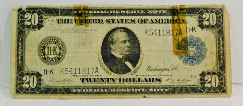 Series 1914 $20 Large Size Federal Reserve Note - Dallas, Texas - K5411817A
