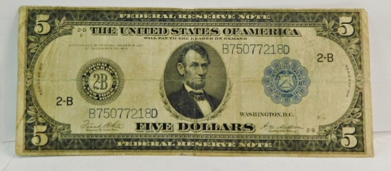 Series 1914 $5 Large Size Federal Reserve Note - Federal Reserve Bank of New York, New York
