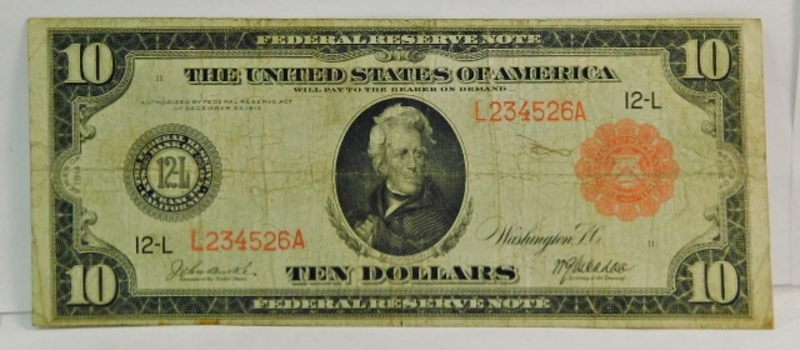 SCARCE 1914 $10 Red Seal Large Size Federal Reserve Note - San Francisco, CA