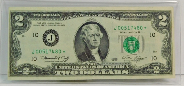 Series 1976 $2 Bicentennial Federal Reserve Star Note - Crisp Paper