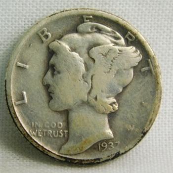 1937-D Silver Mercury Head Dime - Denver Minted