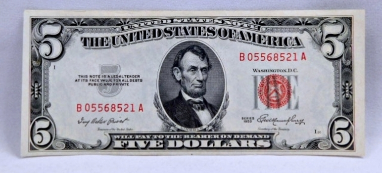 1953 $5 Red Seal U.S. Legal Tender Note - High Grade Crisp Note