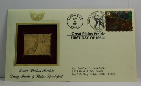 Lot of Two (2) 22K Gold Proof Replica Stamp - Great Plains Prairie/Dung Beetle & Plains Spadefoot; Northern Mariana Islands/U.S. Commonwealth - Golden Replicas of United States Stamps - FDC