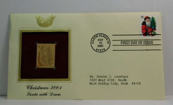 Lot of Two (2) 22K Gold Proof Replica Stamps - Christmas 2001/Santa with Drum & Santa with Rocking Horse - Golden Replicas of United States Stamps - FDC