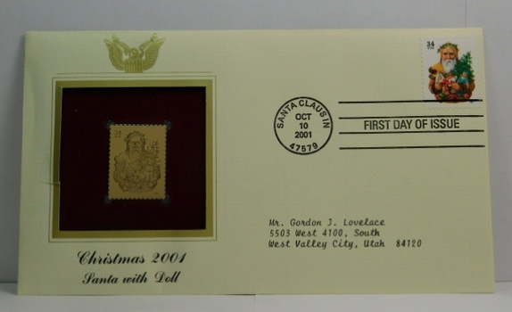 Lot of Two (2) 22K Gold Proof Replica Stamps - Christmas 2001/Santa with Doll & Christmas 1995/Child Holding Tree - Golden Replicas of United States Stamps - FDC