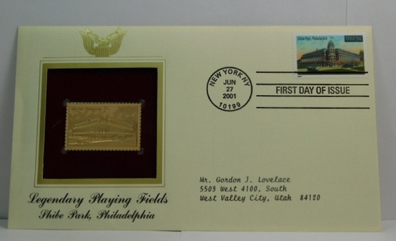 Lot of Two (2) 22K Gold Proof Replica Stamps - Legendary Playing Fields - Shibe Park, Philadelphia & Comiskey Park, Chicago - Golden Replicas of United States Stamps - FDC