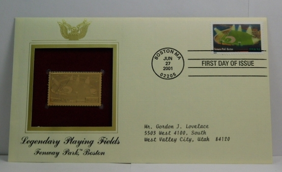 Lot of Two (2) 22K Gold Proof Replica Stamp - Legendary Playing Fields/Fenway Park, Boston & Christmas 1988/Madonna and Child - Golden Replicas of United States Stamps - FDC