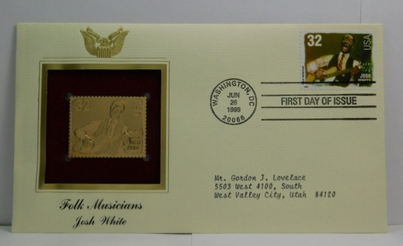 Lot of Two (2) 22K Gold Proof Replica Stamps - Folk Musicians - Josh White & Leadbelly - Golden Replicas of United States Stamps - FDC