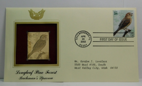 Lot of Two (2) 22K Gold Proof Replica Stamps - Longleaf Pine Forest - Bachman's Sparrow & Grass Pink Orchid/Yellow Sided Skimmer- Golden Replicas of United States Stamps - FDC