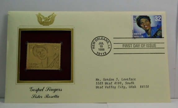 Lot of Two (2) 22K Gold Proof Replica Stamps - Gospel Singers - Sister Rosetta & Roberta Martin - Golden Replicas of United States Stamps - FDC