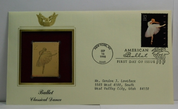 Lot of Two (2) 22K Gold Proof Replica Stamp - Ballet/Classical Dance & Bright Eyes/Hamster - Golden Replicas of United States Stamps - FDC