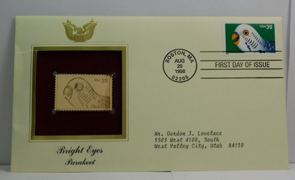 Lot of Two (2) 22K Gold Proof Replica Stamps - Bright Eyes - Parakeet & Cat - Golden Replicas of United States Stamps - FDC