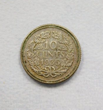 1935 Netherlands Silver 10 Cents