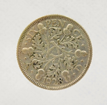 1928 Great Britain Silver Six Pence